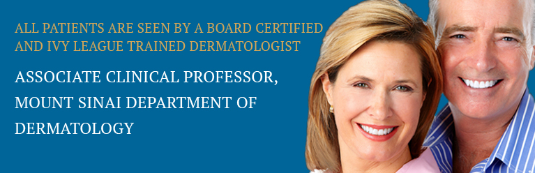 All patients are seen by a Board Certified and Ivy League trained Dermatologist - Mobile banner
